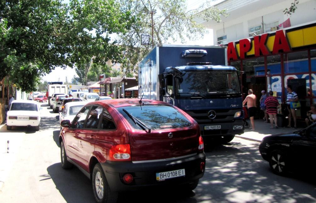 Непрекращающийся трафик в Коблево.