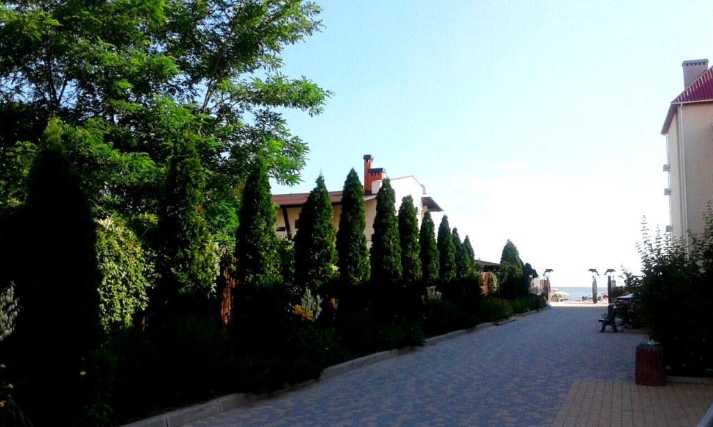Редчайший пример облагороженной территории в Коблево. Хотя, сдается нам, это не отель, а частное владение, а для себя, как говориться, можно и постараться.